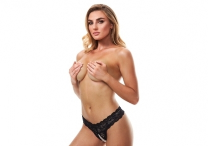 Black Lace Panty with Pearl G-String