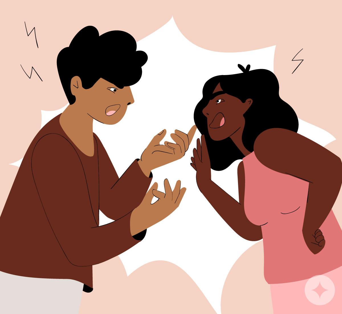 A couple arguing prior to make-up sex