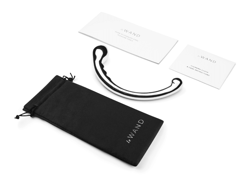 Every Le Wand Stainless Steel Sex Toy purchase includes a travel case, cleaning cloth, and a pleasure guide on how to use your sex toy